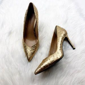 Banana Republic Metallic Gold Ostrich Heels